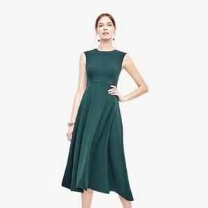 Ann Taylor Crepe Seamed Midi Dress